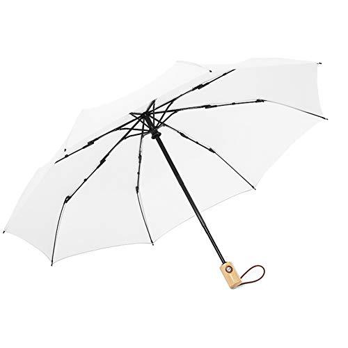 Fablcrew Automatischer Regenschirm Sonnenschirm Kunststoff durchsichtig Taschenschirm automatischem Knopf Sturmfest klein leicht kompakt windsicher stabil Schirm Size 97cm*55cm (Beige-A)
