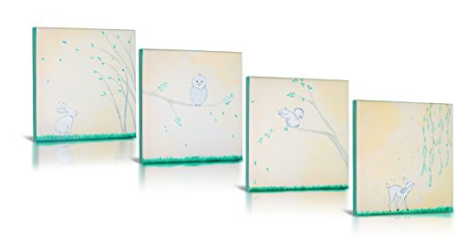 Green Frog Canvas Gallery Wrapped Art Decor, Forest Friends by Green Frog