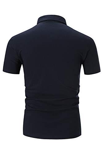 STTLZMC Casual Polo Hombre Mangas Corta Camisetas Deporte Algodón Clásico Plaid Cuello,Azul,L