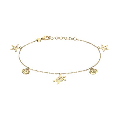 Carissima Gold Women's 9ct Yellow Gold 'Sea & Sand' Adjustable Bracelet 18cm/7'-20cm/8'