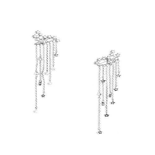 2020 Orecchini donna lunga moda orecchio per le donne penzoloni 1 paio di stelle sparanti strass nappe goccia orecchini oro argento e NA, colore: Argento anticato, cod. KPA7212