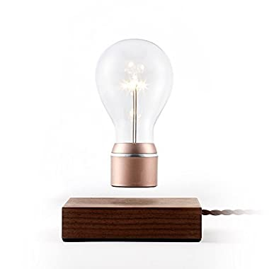 FLYTE - Buckminister - Original, Authentic Magic Floating Levitating LED Light Bulb Lamp (Walnut Base, Copper Cap Bulb)