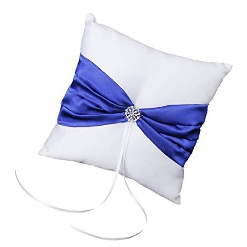 Hiinice 10 * 10 cm de Lino Bolsa Anillo Partido de Boda del Rhinestone del Anillo del Bowknot Almohada de satén Cojín Portador de Anillo (Azul) Llevar Latido del corazón