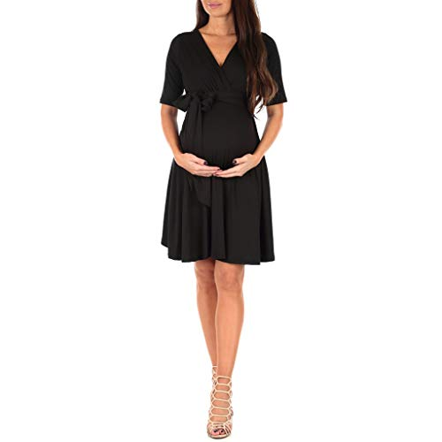 Mother Bee Women's Knee Length Wrap Dress with Belt - Made in...