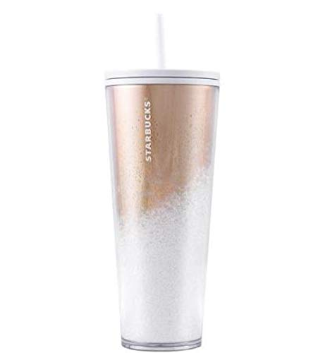 Starbucks 2019 - Bicchiere a specchio per bevande fredde, con brillantini, colore: oro