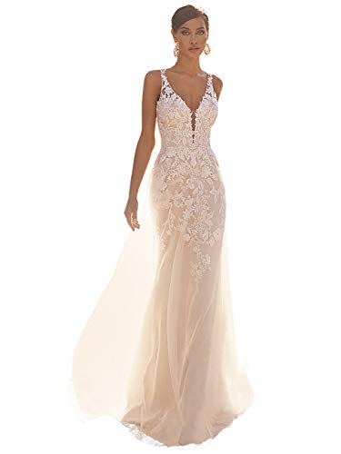 Noras dress Lace Appliques V Neck Wedding Dress for Bride Mermaid Bridal Destination Wedding Gowns Ivory 12