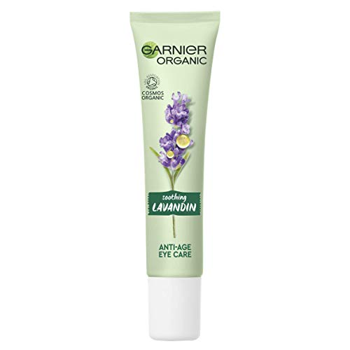Garnier Organic Soothing Lavandin Anti Age Eye Cream, Enriched With Vitamin E and Organic Argan Oil for Smooth and Refreshed Eye Area 15 ml