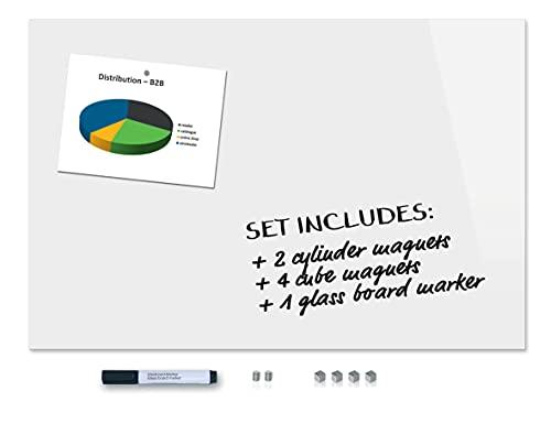 Be!Board SY489 Pizarra magnética de vidrio (90 x 60 cm) blanco puro + 6 imanes + 1 rotulador negro