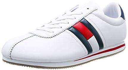 Tommy_Jeans Retro Flag Sneaker, Zapatillas para Hombre, Blanco (White 100), 43 EU