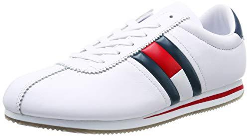 Tommy_Jeans Retro Flag Sneaker, Zapatillas para Hombre, Blanco (White 100), 44 EU