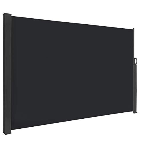 HENGMEI 180x300cm Seitenmarkise Sonnenschutz Sichtschutz Windschutz Verschiedene Größen für Terrasse Camping Garden (180 cm, Anthrazit)