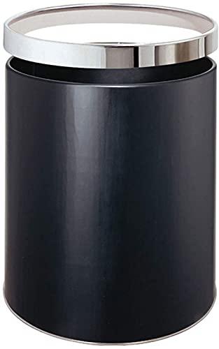 ZCRR Papelera redonda, acero inoxidable, espejo de acero inoxidable, arena de acero, pintura negra (color: A)