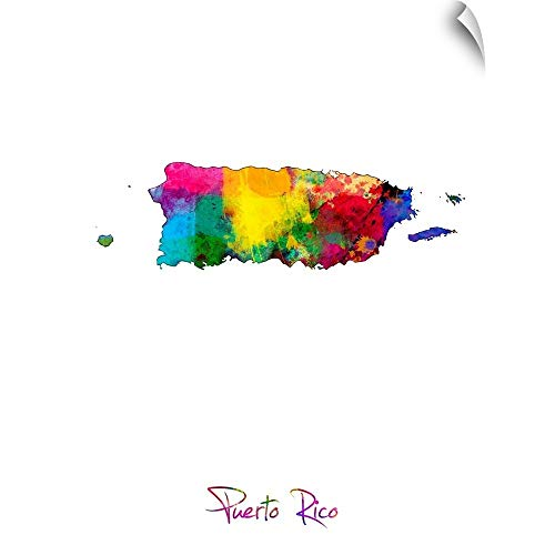 CANVAS ON DEMAND Puerto Rico Watercolor Map Wall Decal, 23'x30'