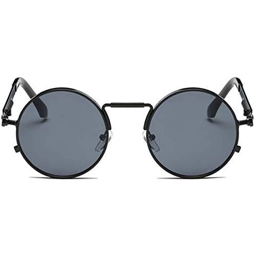 ZHANG Gafas de Sol de Mujer Gafas, Gafas de Sol Vintage para Hombre para Mujer, Montura Metálica de Estilo Punk, Gafas de Sol Redondas para Hombre, Gafas de Moda