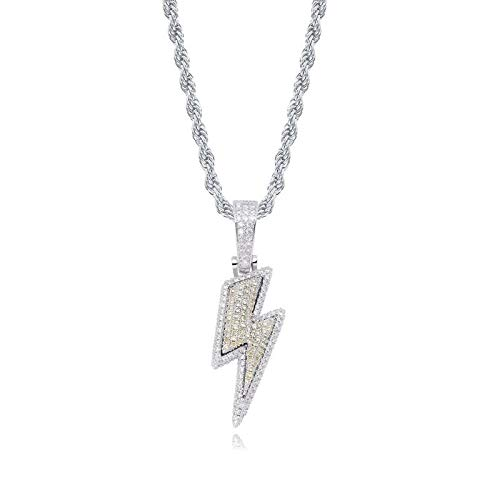 Necklace Iced Out Lightning Pendant Zircon Men Fashion Hip Hop Jewelry Gift-Silver