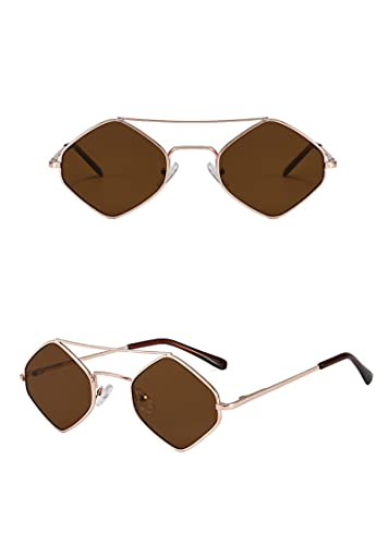 NJJX Gafas De Sol Irregulares Para Niños Gafas Anti-Uv Para Exteriores Gafas Para Niñas Gafas Gafas Accesorios Para Disparos En La Calle Gafas De Sol Con Montura Metálica Niño Marrón