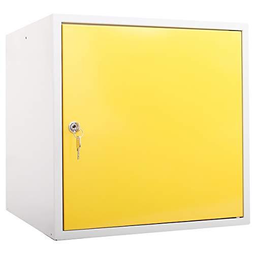 newpo Schließfachwürfel | HxBxT 45 x 45 x 45 cm | Gelb | Garderobe Schließfach Schließfachschrank Schließwürfel Spind Umkleideschrank Wertsachenschrank