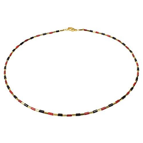 Funk-Collier Edelstein Kette, Koralle, Onyx und vergoldetem Edelstein, 925oo Silber verg. Schloss, ca. 45 cm