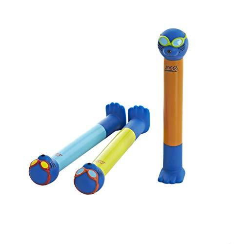 Zoggs Zoggy Dive Sticks, Giocattolo Affondante in Acqua Unisex Bambino, 3 Anni+, Azzurro/Giallo/Arancione, 3 Pezzi