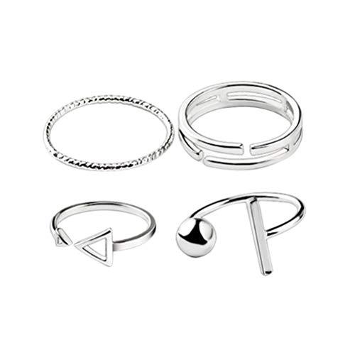 Tendycoco anel de falange de prata anel junta junta junta anéis boêmia anéis empilháveis para mulheres 4 peças