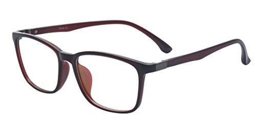 ALWAYSUV Fashion Classic Vollformat Klare Linse Rechteckig TR90 RahmenbrilleNerd Brille Für Damen/Herren Braun