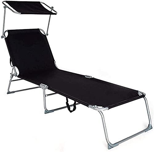 HDZW Chaise Longue Plegable, Silla de Playa Ajustable con toldo Parasol, Silla reclinable portátil de 200 kg de Carga, Resistente para Tomar el Sol, Taburete para Patio al Aire Libre (Color: Negro)