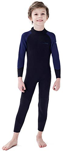 Dark Lightning 3/2mm Kids Wetsuit for Boys and Girls, Neoprene Thermal Swimsuit, Toddler/Junior/Youth One Piece Wet Suits for Scuba Diving,Blue/Size 14