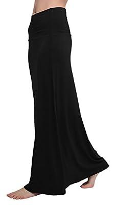 Urban CoCo Women's Stylish Spandex Comfy Fold-Over Flare Long Maxi Skirt(L, Black)