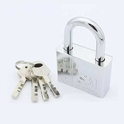Qiwenr 40mm Steel Lock,Long Lock with Keys Heavy Duty Padlock with 4 Same Key Padlocks,for Outdoor Home Garage Gym Cupboard Shutter Fence Bike(Silver)