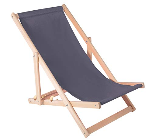 Liegestuhl klappbar aus Holz - Klappliegestuhl mit armlehne Strandstuhl Holzklappstuhl Garten Liegestuhl Balkon Sonnenstuhl Gartenliegen (Grau)