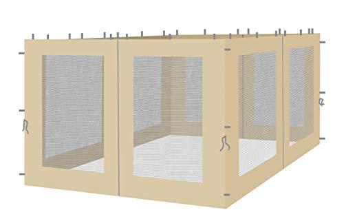 QUICK STAR 4 Seitenteile mit Moskitonetz für Blätter Pavillon 3x3m Seitenwand Sand