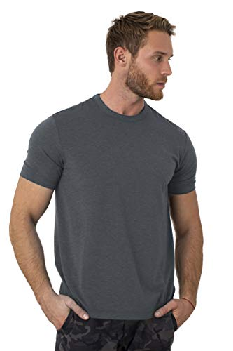 Merino.tech 100% Organic Merino Wool Lightweight Men's T-Shirt (Grey Blue, Large)
