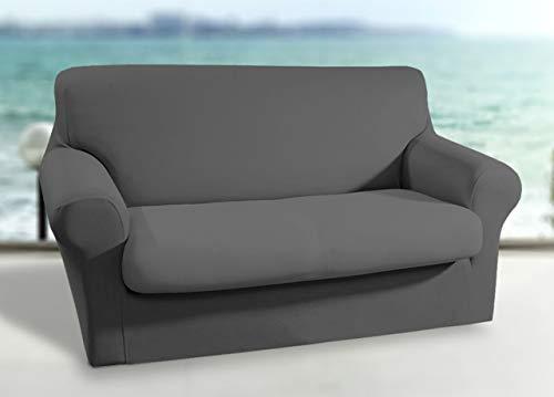 Biancheriaweb - Funda elástica para sofá de 2 plazas, Color Gris Oscuro