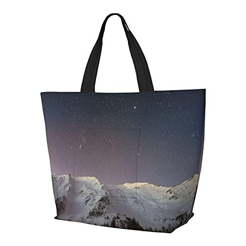 Damen-Handtaschen, Schnee-Berge, Sternenhimmel, große Kapazität, trendig, für Fitnessstudio, Sport, Strand, Schule, Bücher