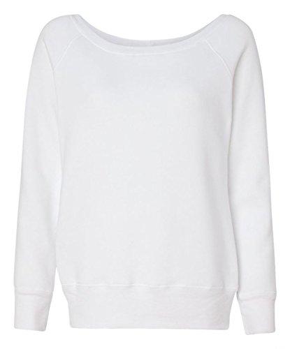 Bella for Women's Mia Slouchy Wideneck Fleece Sweatshirt, solid white, Large