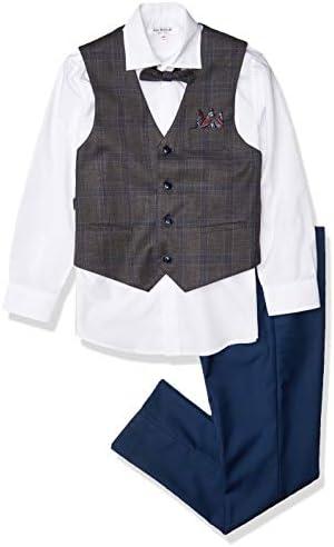 Isaac Mizrahi Boys 4 Piece Plaid Vest Set Brown Blue 10 product image