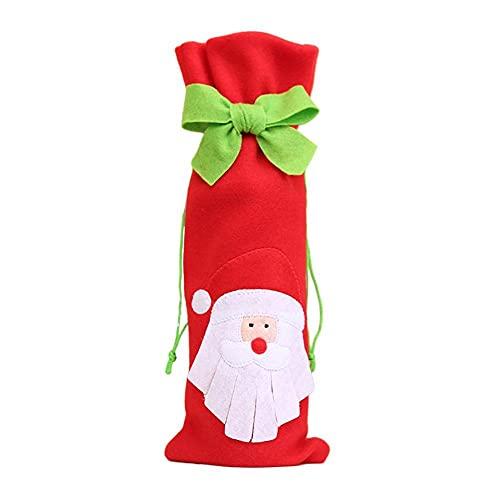 HUIOP Navidad botella de vino cubierta decoraciones de Navidad para el hogar Santa Claus Navidad