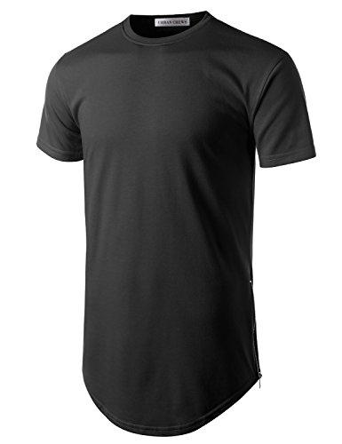 URBANCREWS Mens Hipster Hip Hop Basic Longline Crewneck T-Shirt Black Large