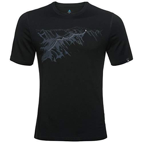 Odlo BL Top Crew Neck S/S Alliance T-Shirt pour Homme XXL Noir/imprimé Mountain SS19