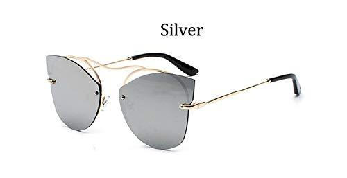 HPLDEHA 2020 Espejo de la Manera Mujeres Tendencia Gafas de Sol sin Montura Ojo de Gato Gafas de Sol Marco Damas Glasse (Objektiv-Farbe : Silver)