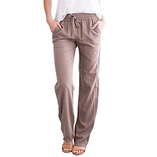 Pantalones sueltos de algodón y lino para mujer, caqui, S