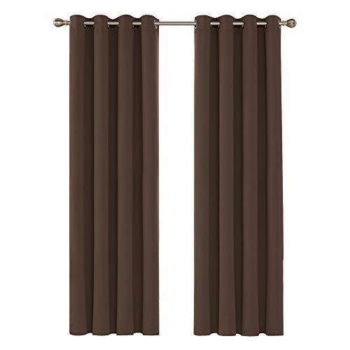 Deconovo Cortinas Dormitorio Moderno Blackout Curtain Suave para Ventanas de Habitación Juvenil 2 Piezas 140 x 245 cm Marrón