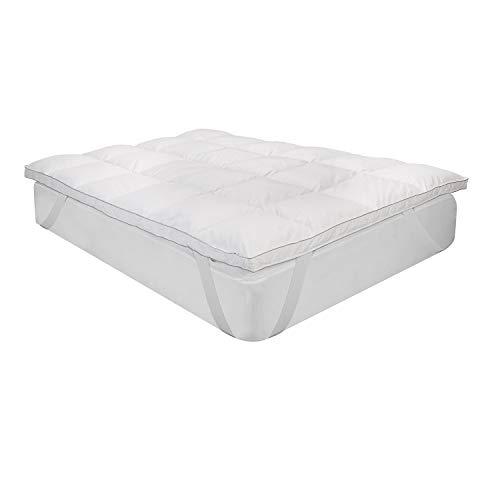 Classic Blanc - Topper de plumas de gran confort de 9 cm transpirable con gran sensación de acogida y tejido exterior de algodón