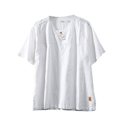 WUSIKY Mode Herren Shirt Baumwolle Atmungsaktiv Leinen Einfarbig Kurzarm Retro T-Shirts Leinenhemd Oberteile (3XL, Weiß)