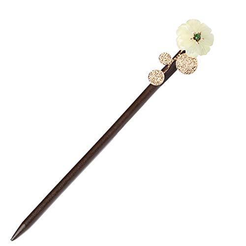 Pinces à cheveux, disques classiques, pas à pas, ornements tremblants, pinces en bois simples, jade antique, pinces à diadème, environ 16 cm de long
