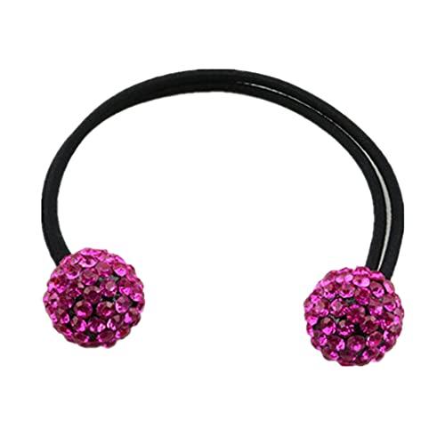 Perfeclan Deux Diamante Boules de Coiffe de Coiffure élastique Poignée de Cheval de Cheval de Cheval - Rose Rouge