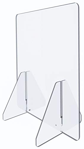Acrylic Plexiglass Sneeze Guard Shield - Thick, Sturdy Clear Guard - Many Size Options 60', 48', 32', 24', 16', 12' for Complete Personalized Counter and Desk Divider Enclosure Set (24' Closed)