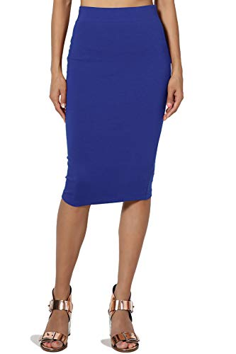 TheMogan Junior's Stretch Cotton Elastic High Waist Pencil Midi Skirt Denim Blue M