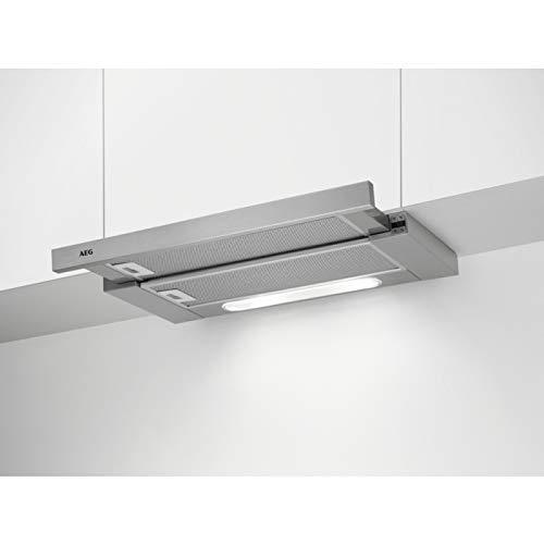 AEG DPB5652M Flachschirm-Dunstabzugshaube/Abluft oder Umluft / 60cm / Grey/max. 448 m³/h/min. 51 – max. 70 dB(A) / A/SoftTouch Tasten/Grey