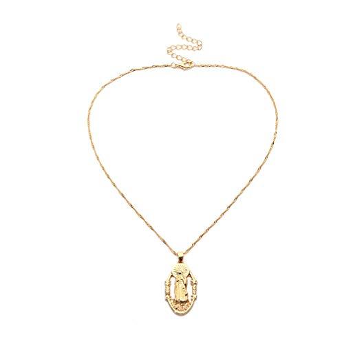 MOONRING Verstellbare Halskette Madonna Our Lady Oval Aushöhlen Pullover Kette Geburtstagsgeschenke für Frauen